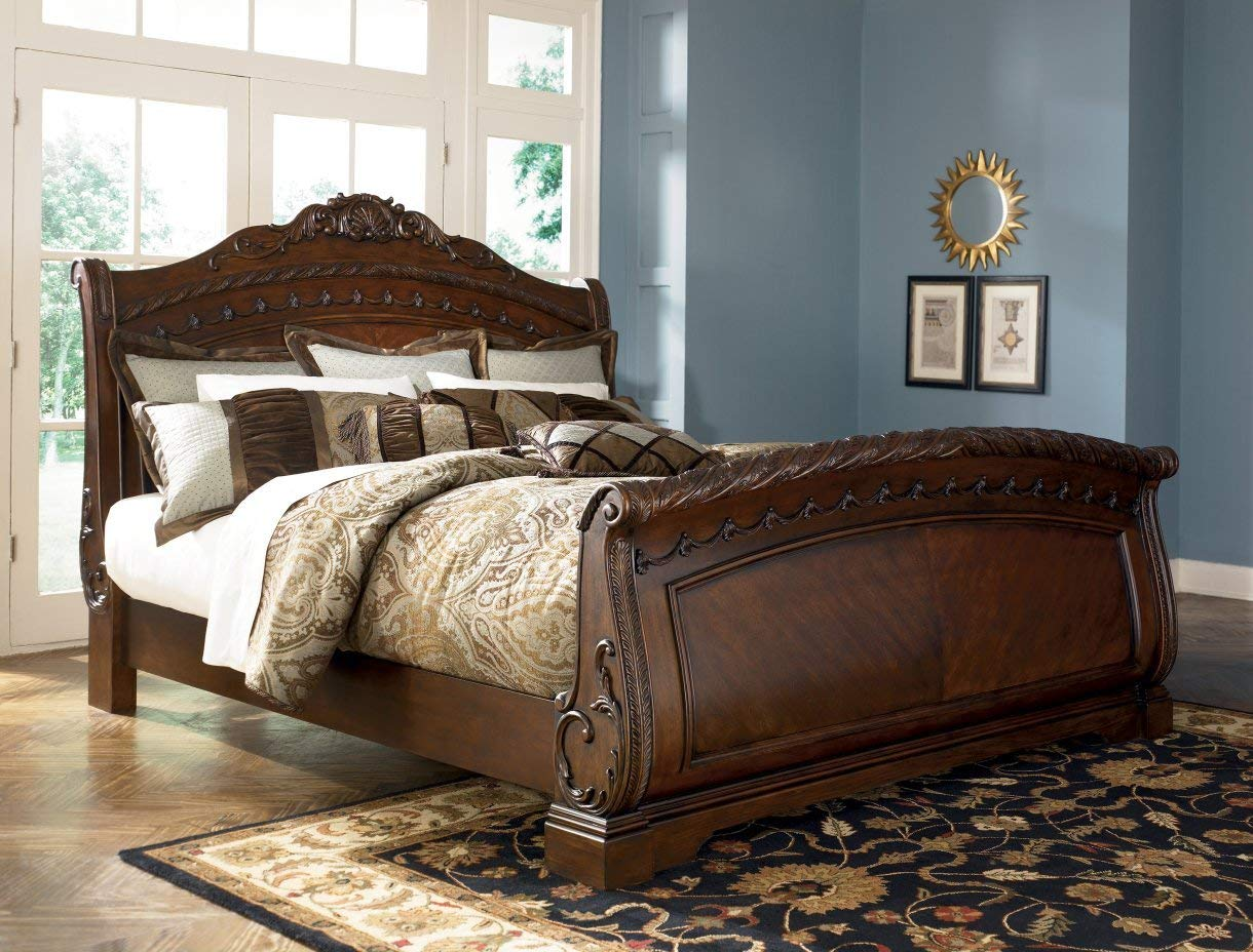 sleigh beds amazon.com: ashley north shore 6/6 king sleigh bed b553 ...best seller: ZGNPHSV