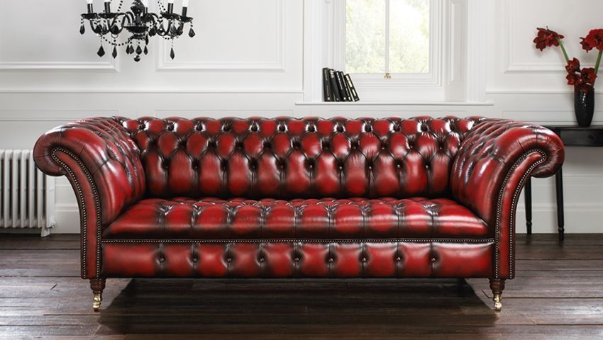sofa chesterfield chesterfield sofa / leather / 3-seater / red - blenheim AQFGBHO