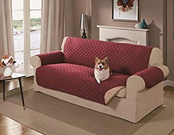 sofa covers amazon.com : mason reversible sofa cover, red : pet supplies QYFHYSA