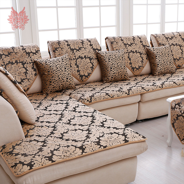 sofa covers europe black gold floral jacquard terry cloth sofa cover plush sectional VKZYEME