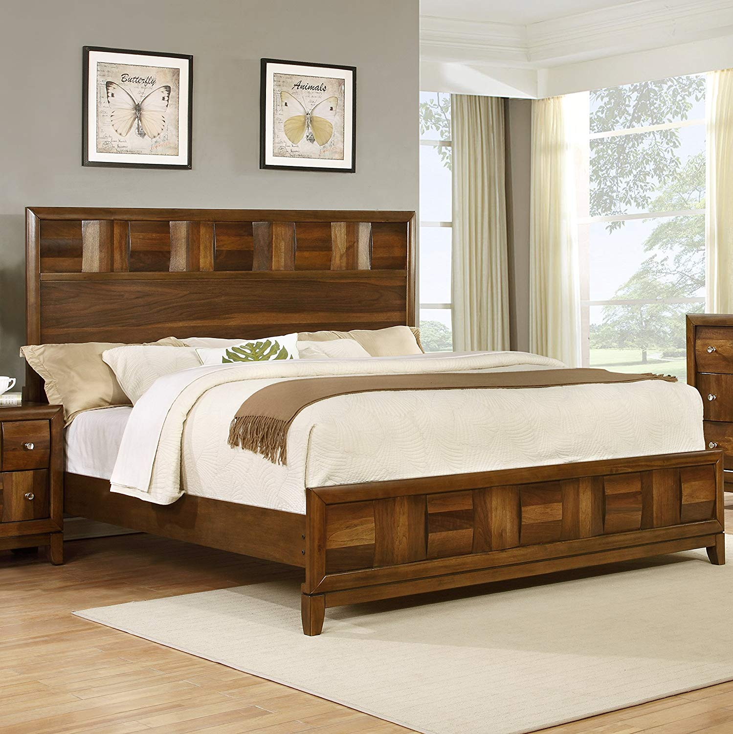 solid wood bedroom furniture amazon.com: roundhill furniture calais solid wood construction bedroom set  with HZGEJBJ