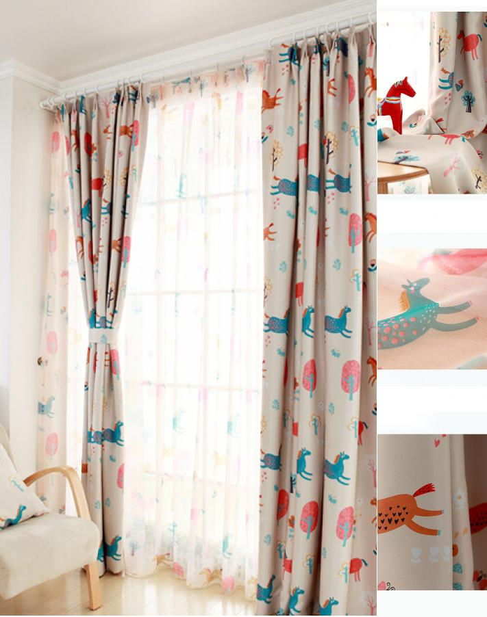 spectacular kids blackout curtains cute animal beige polyester/cotton blackout  kids JGFHFTP