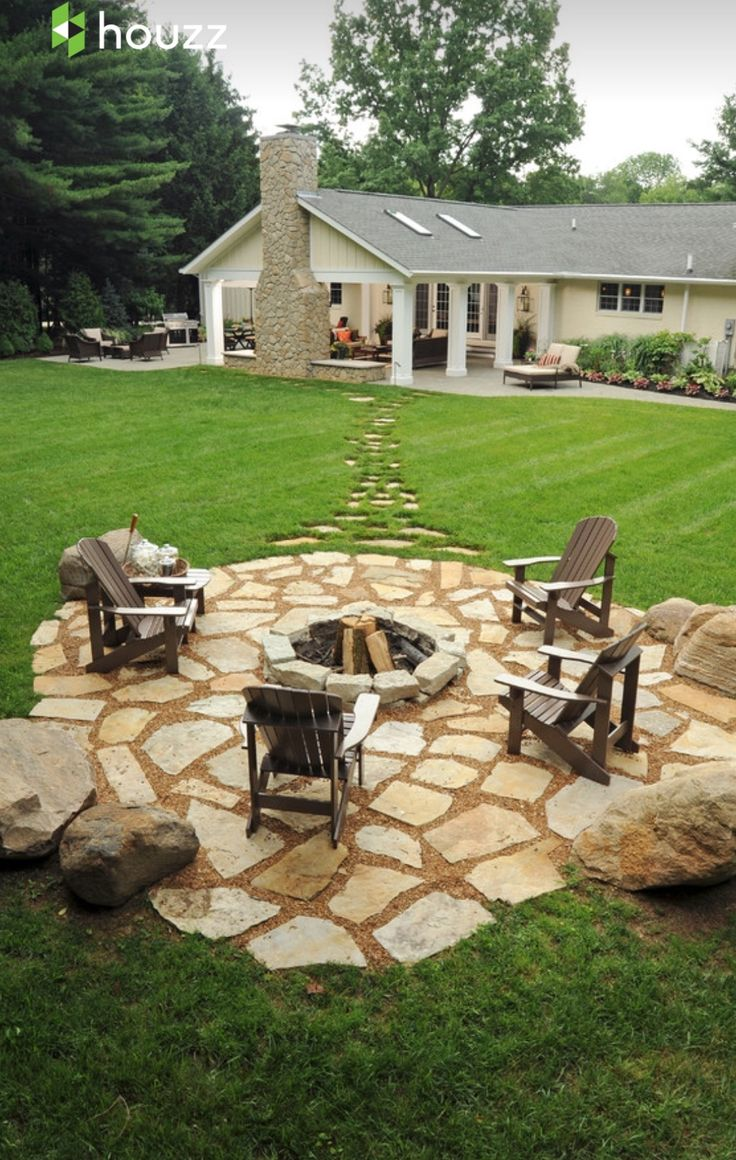 stone patio ideas stepping stones out to the fire pit in the far corner GFUWANN
