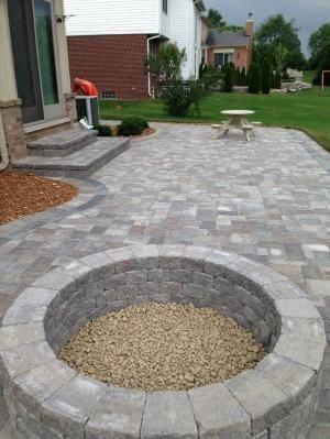 stone patio ideas stone patio with built in fire pit - patio ideas by JKYGECA