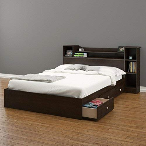 storage beds with drawers pocono 3-drawer storage bed with bookcase headboard full TDVUYKM