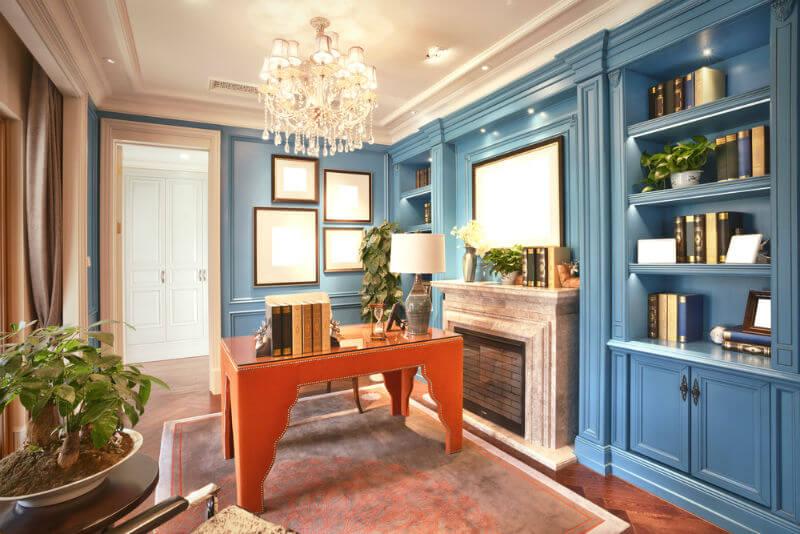 study room designs ... study room design with light blue bookshelf WAFIDWX