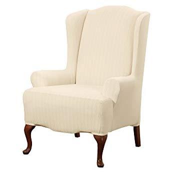 sure fit stretch pinstripe - wing chair slipcover - cream (sf39062) JONVFEG