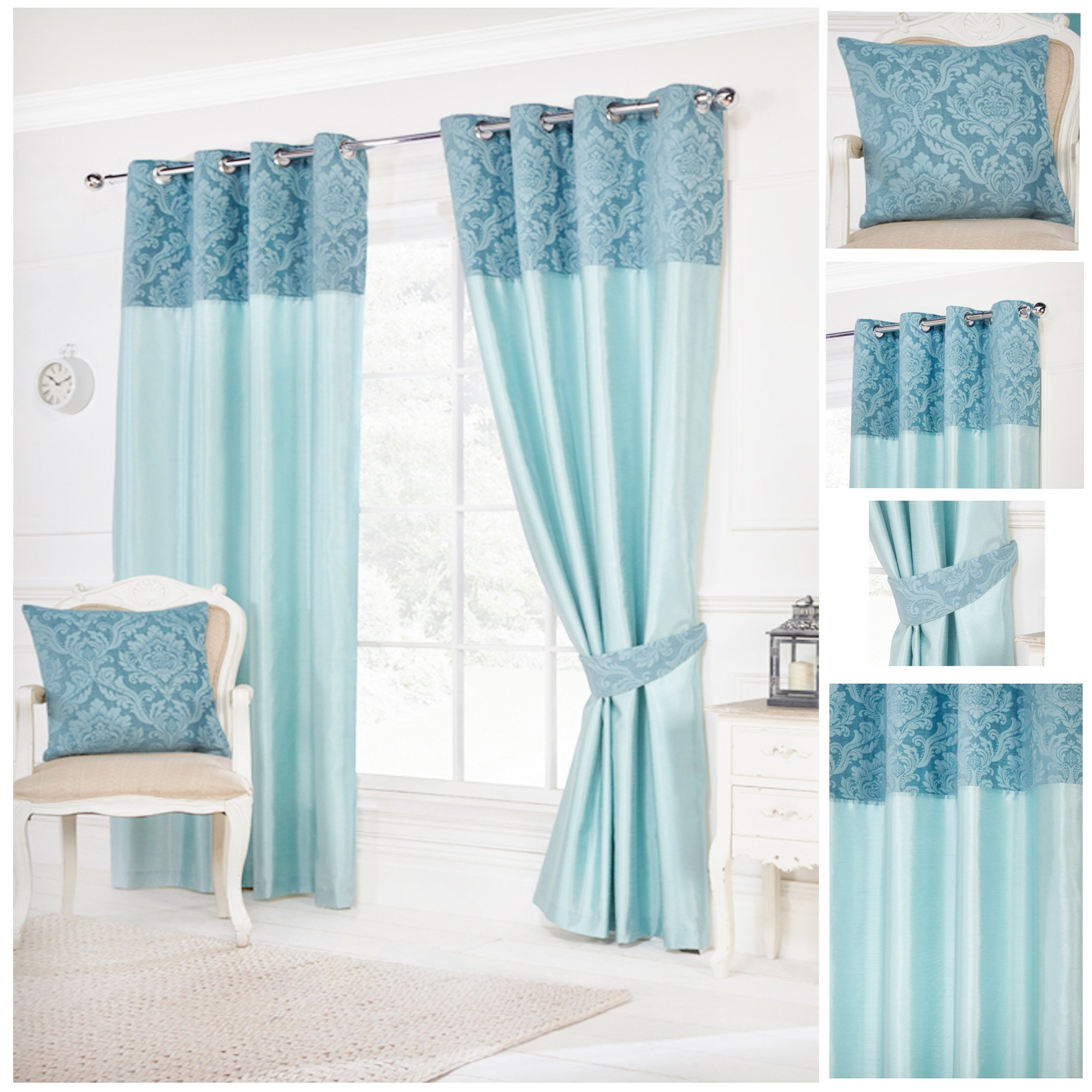 teal curtains darcy teal ring top / eyelet fully lined readymade curtains ... AKRZIJI