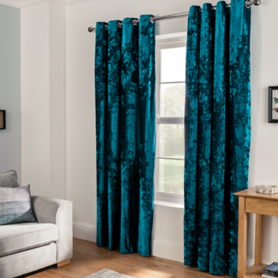 teal curtains embossed crushed velvet eyelet curtains - teal DGRFEWJ