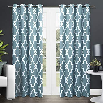 teal curtains exclusive home curtains ironwork sateen woven blackout thermal grommet top RDJKQFP