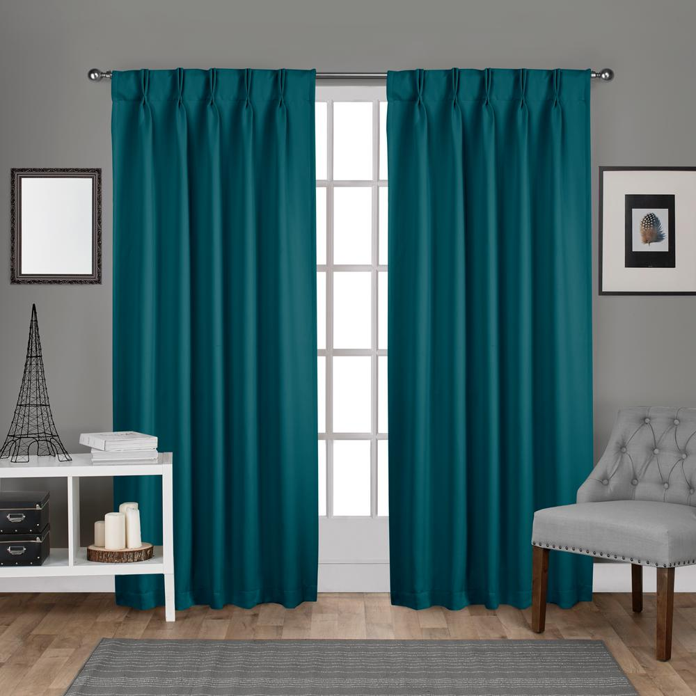 teal curtains sateen pinch pleat teal woven blackout window curtain MBXAIRG