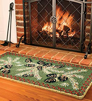 the hooked wool pine cone hearth rug from plow u0026 hearth ZQUSZFE