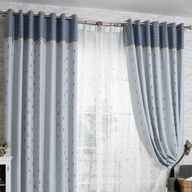 thick blackout gray cotton nautical curtains QVLSBBG