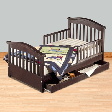 toddler beds sorelle joel pine toddler bed w/drawer in cherry XJEHWQY