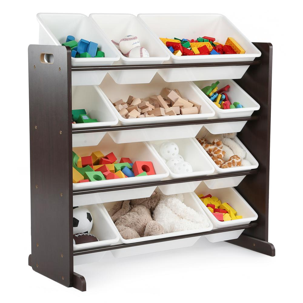 tot tutors espresso collection espresso and white kids toy storage EQJAIZY