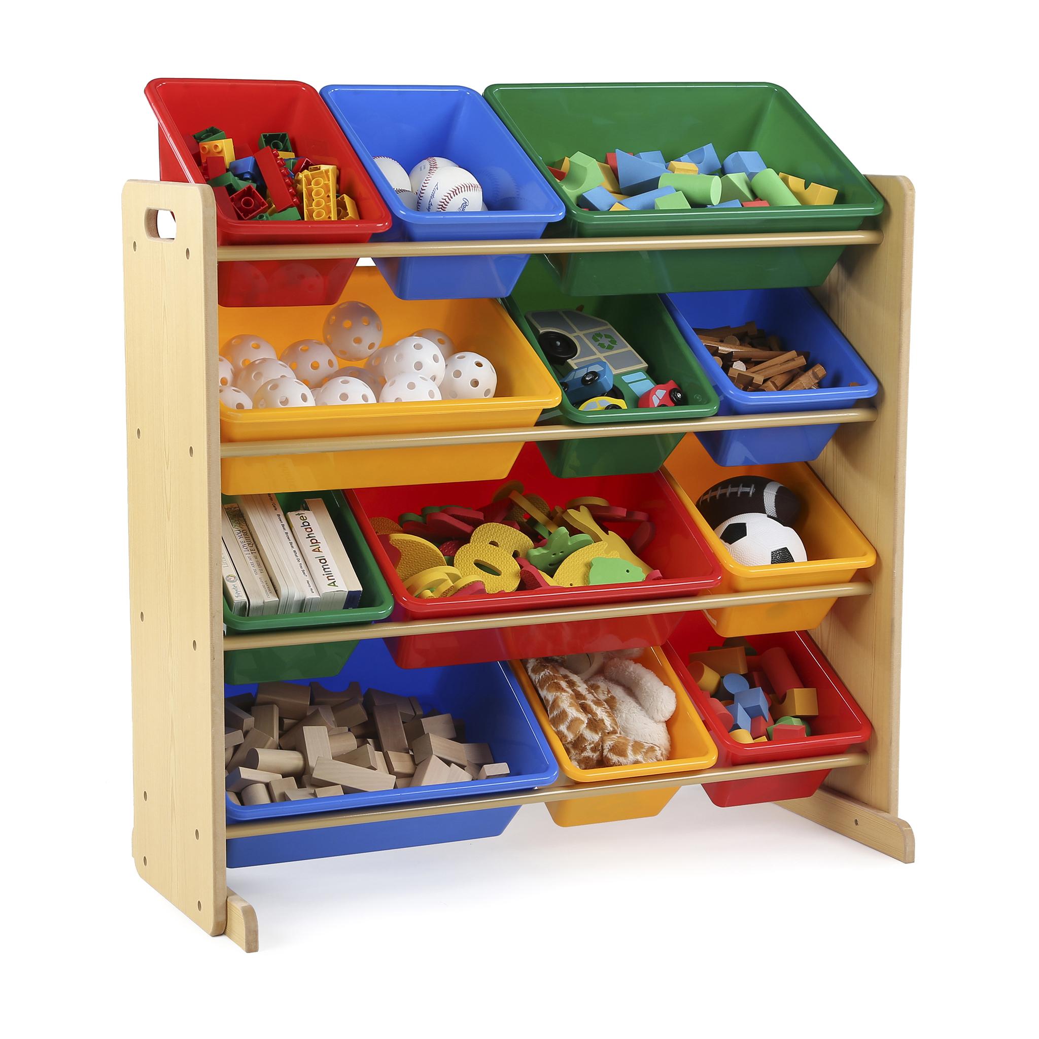 tot tutors kids toy storage organizer with 12 plastic bins, multiple VVNBUTK