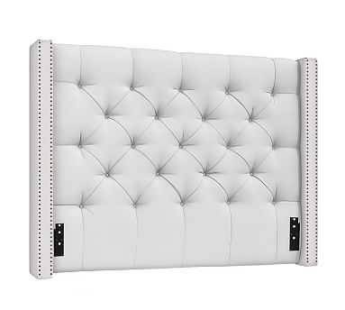 tufted headboard harper upholstered tufted low headboard with bronze nailheads, full, ... VHEWXNG