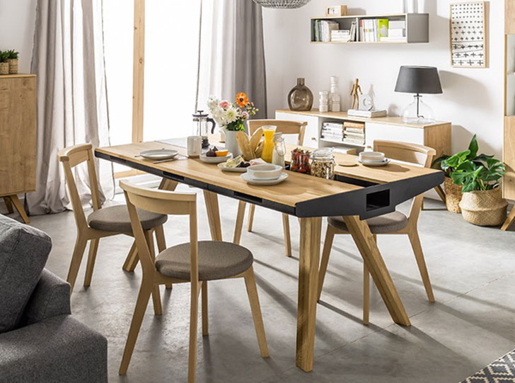 vox oak dining table with built-in trivet - unique dining tables EVECOXK