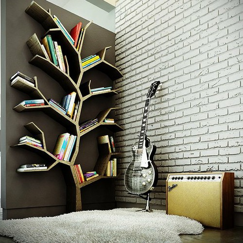 wall art ideas book, tree, and guitar image BAMBLQX