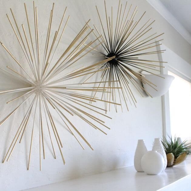 wall art ideas diy bamboo skewer wall decor EIWENNN