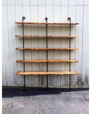 wall bookshelf the hemingway wall mount bookcase reclaimed wood bookshelf pipe wall PHOJGRS