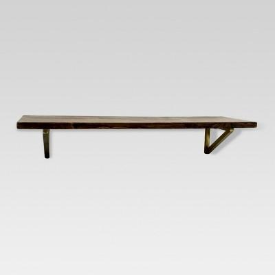 wall shelf with polished brass brackets - medium - threshold™ ZQUFTLG