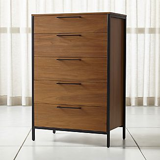 walnut furniture james walnut with black frame 5-drawer chest BMISCYR