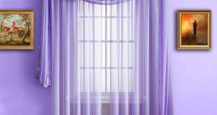 warm home designs lilac purple window scarf, sheer purple curtains ... FFKJDWD