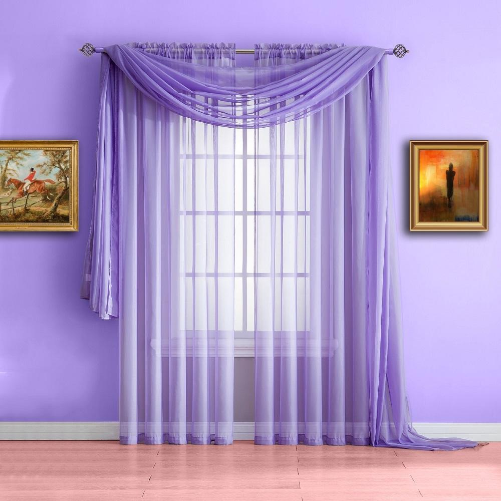 warm home designs lilac purple window scarf, sheer purple curtains ... FFKJDWD