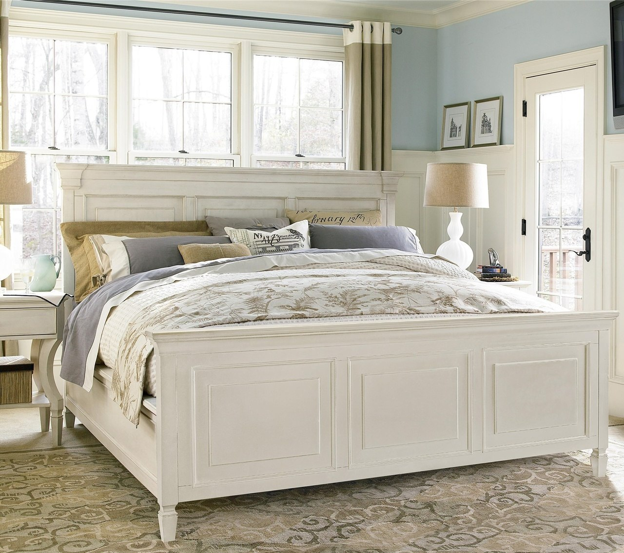 white beds country-chic white king panel bed frame SUIQRBZ