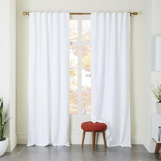 white blackout curtains belgian flax linen curtain - white KWXFHEF