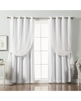 white blackout curtains best home fashion mix u0026 match tulle lace u0026 solid cotton SMKELGJ