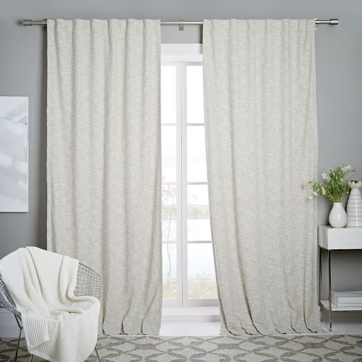 white blackout curtains cotton textured weave curtain + blackout lining - ivory LUEQJYZ