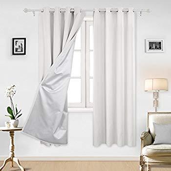 white blackout curtains deconovo greyish white thermal insulated blackout curtains grommet curtains  with ZQKJUGM