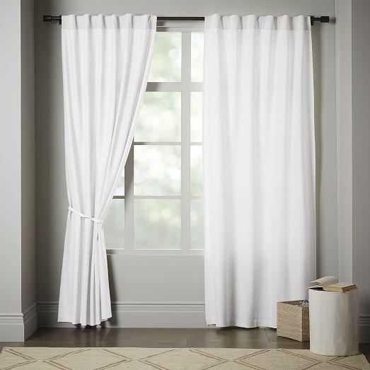 white blackout curtains linen cotton curtain - stone white UBBOXPO