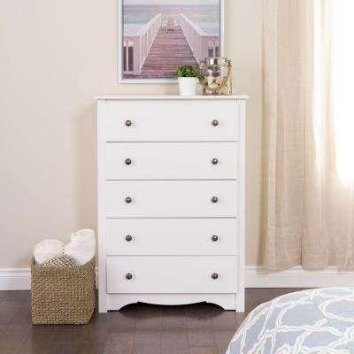 white dresser monterey 5-drawer white chest CRJMGIT