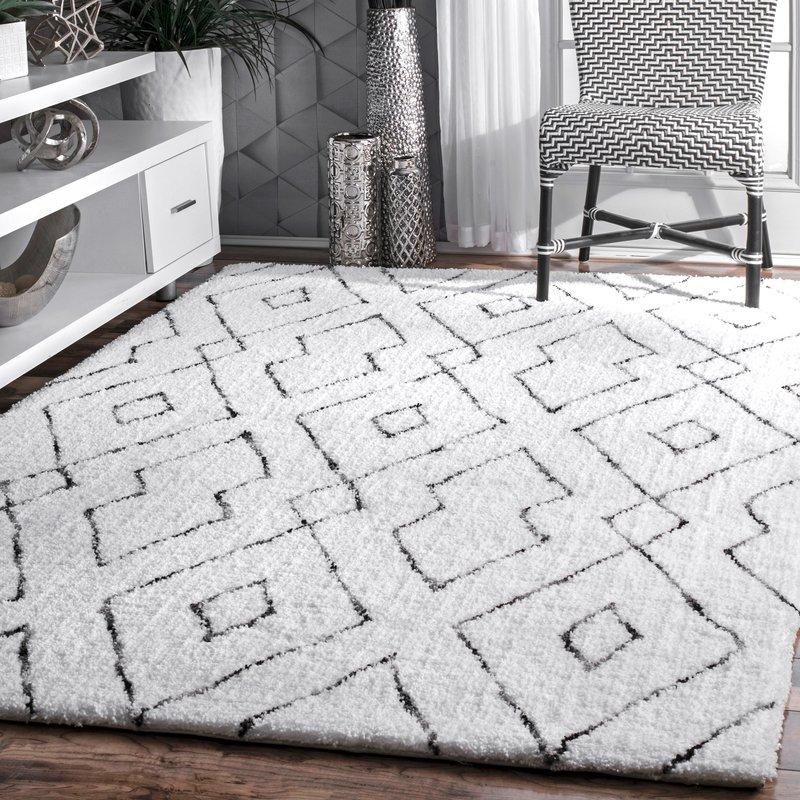 white rug peraza hand-tufted white area rug YDNWTOX