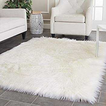 white rug safavieh faux silky sheepskin fss235a ivory area shag rug (4u0027 x INWANLG
