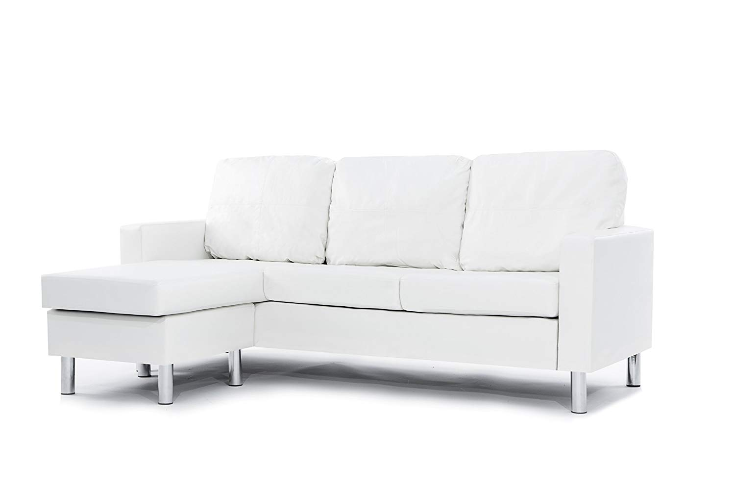 white sofa amazon.com: modern bonded leather sectional sofa - small space configurable UBBUDMZ