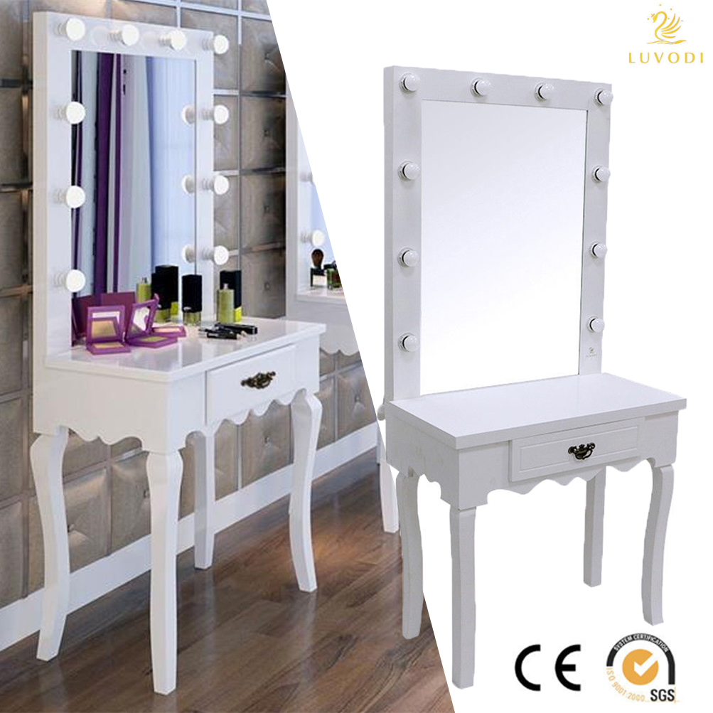 white vanity makeup dressing table set w/ 10 led bulbs lighted TQNYXTD