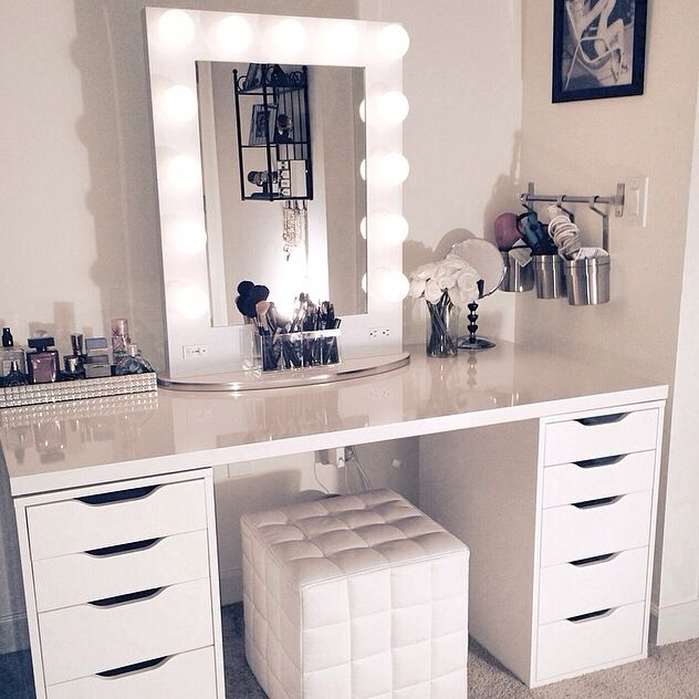 white vanity white broadway table top mirror turns ikea desk and drawers into NKGJYSR
