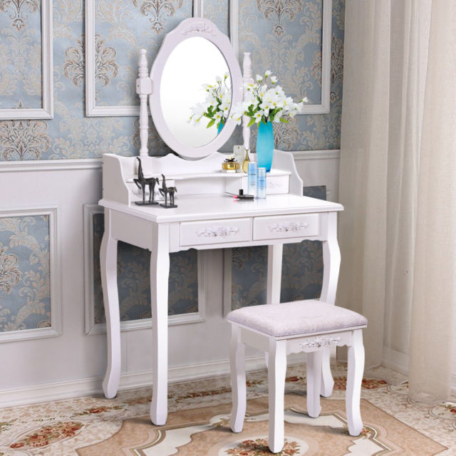 white vanity wood makeup dressing table stool set bedroom with mirror HBEXOLN