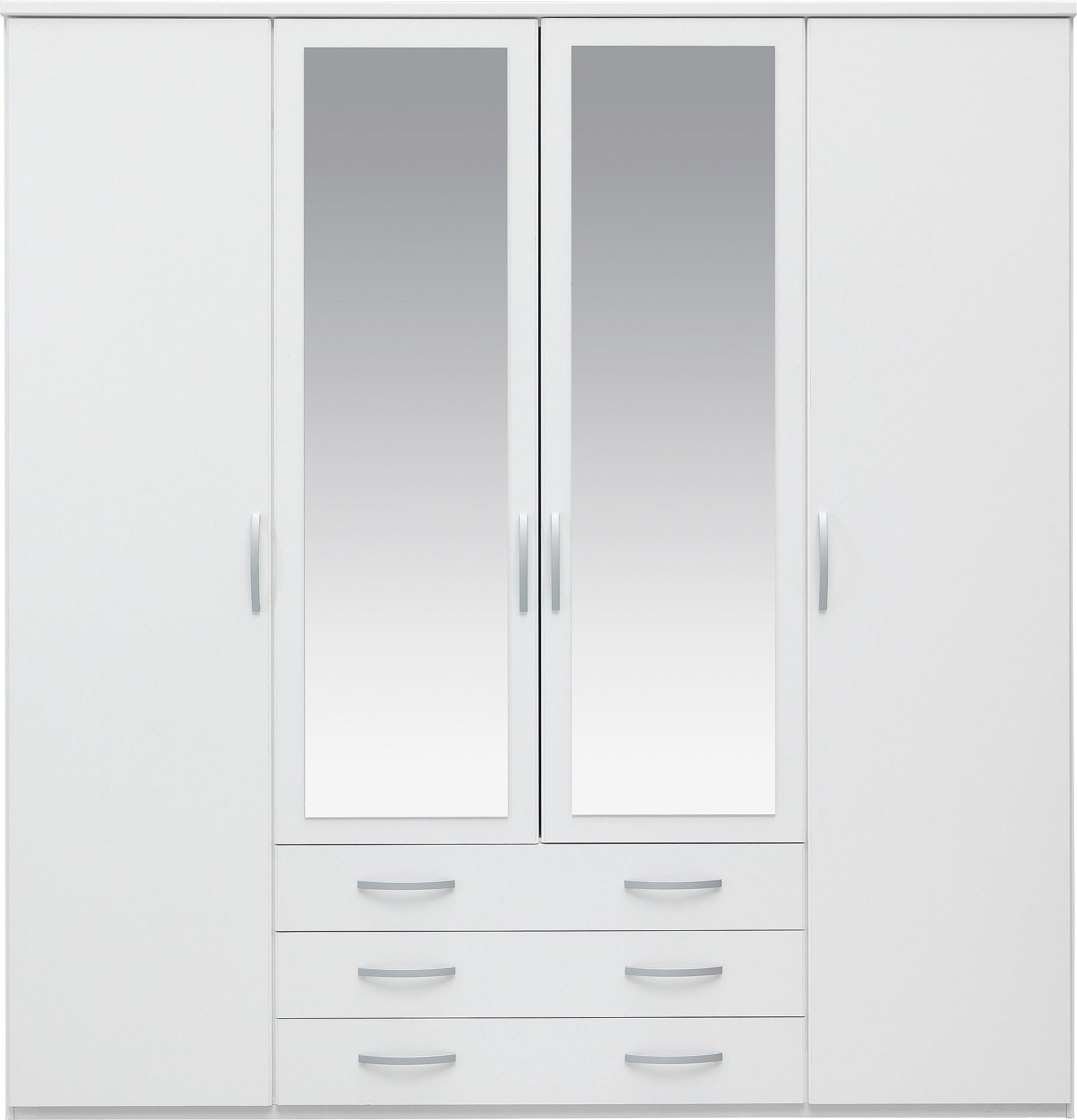 white wardrobes collection hallingford 4dr 3drw mirrored wardrobe - white PENKHPN