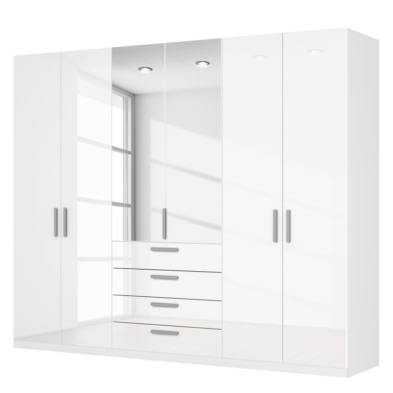 white wardrobes rauch agon 6 door white gloss combi wardrobe white carcase BNYDPAM