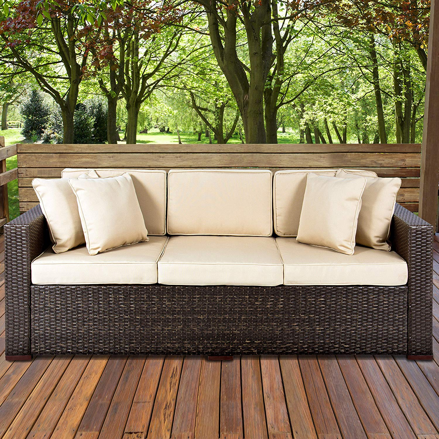 wicker furniture amazon.com : best choice products 3-seat outdoor wicker sofa couch patio HEPGCJA