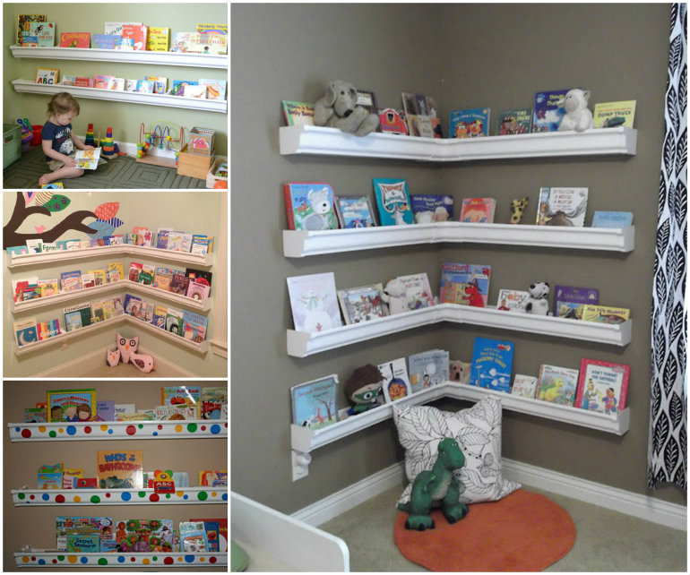 wonderful diy rain gutter bookshelves for kids QNWAVDB