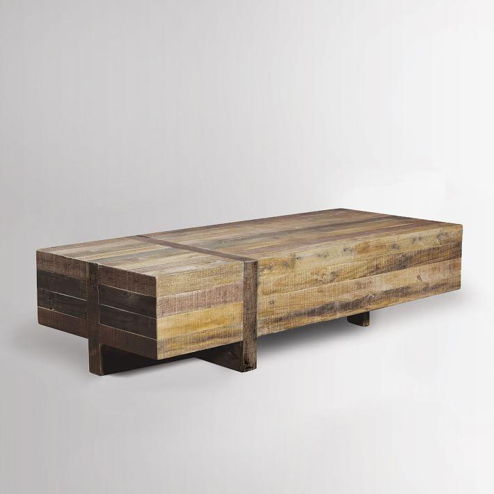 wood coffee table emmerson® reclaimed wood block coffee table | west elm HXSYKFL