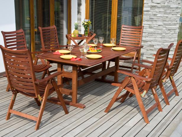 Taken care of the wooden patio furniture