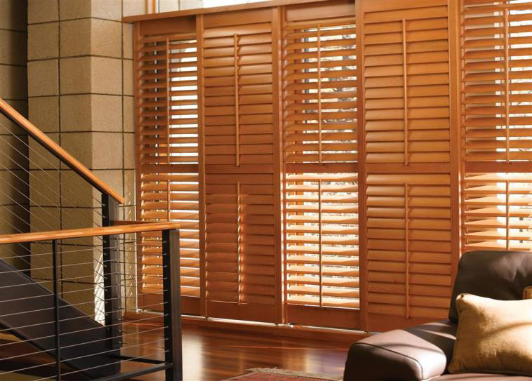 wooden shutters budget blinds natural hardwood shutters. north american wood shutters ROXLSXI