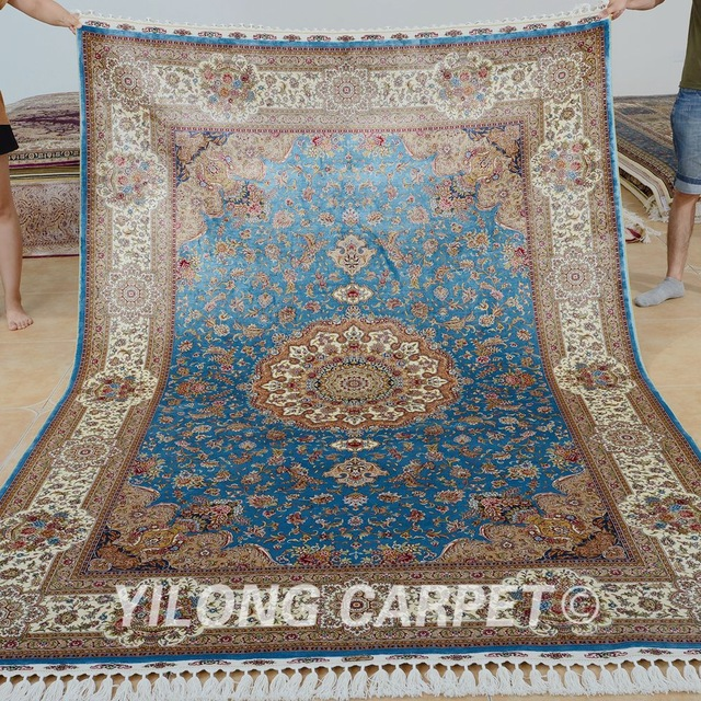 yilong 6u0027x9u0027 kashmir qum carpet vantage blue handmade silk persian rugs USYNWSV